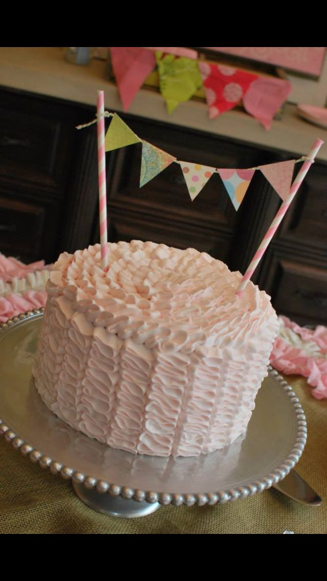 Baby shower Cake- ribbon icing Creations and ...