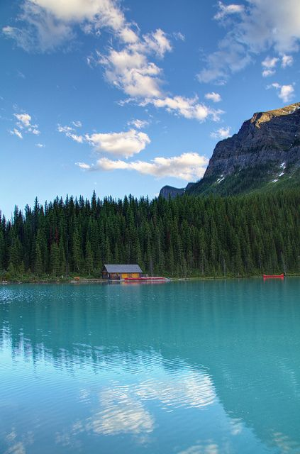 Solace. In the shadow of the Canadian Rockies on Lake Louise