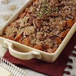 Maple-Glazed Yams with Butter Pecan Topping I make this every year