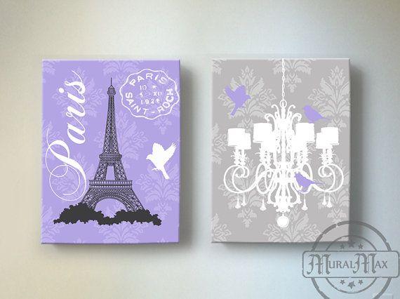 Eiffel Tower Chandelier Paris Bedroom Decor Girls Room Decor Canv