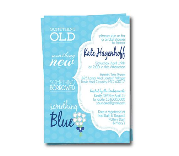 Something Blue Bridal Shower Invitation | Printable Wedding Shower ...