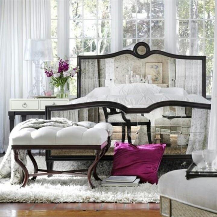 Mirrored headboard beautiful bedrooms pinterest for Mirror headboard