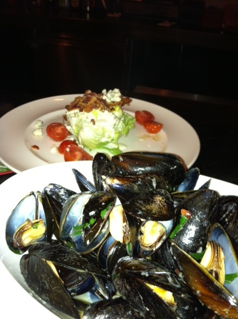 Sake steamed Mussels and wedge salad with blue cheese and bacon!