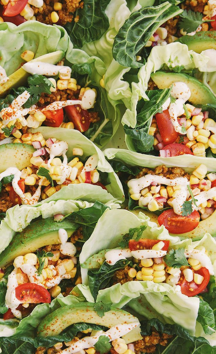 Lettuce Wrap Tacos with Spicy Nut Crumble and Sweet Corn Ceviche Salsa