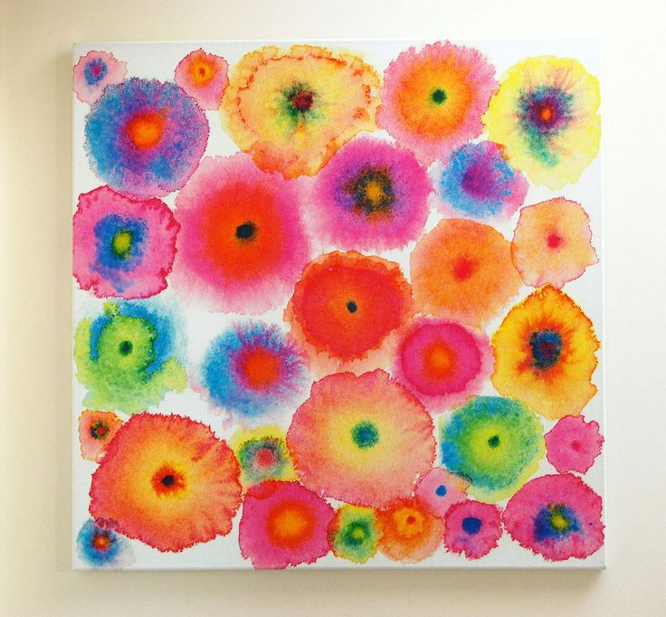Pink large abstract print canvas circles flowers for Abstract watercolour flowers