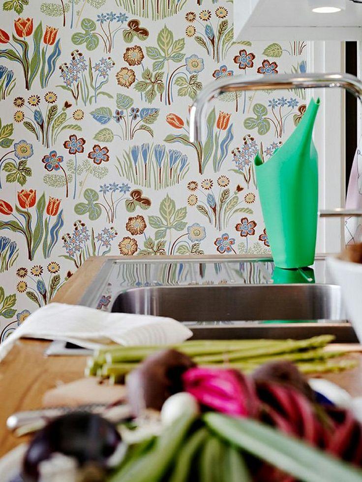 Scandinavian floral wallpaper kitchens pinterest Scandinavian wallpaper and decor