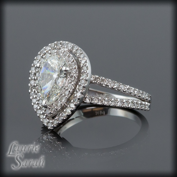 Pear Shaped Diamond Engagement Ring with Diamond Double Halo LS1401