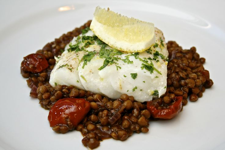Cod with red wine lentils.   Fishy Favourites   Pinterest