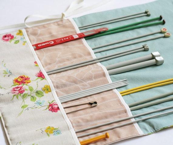 Knitting Needle Storage Roll : Knitting needle roll fabric organizer