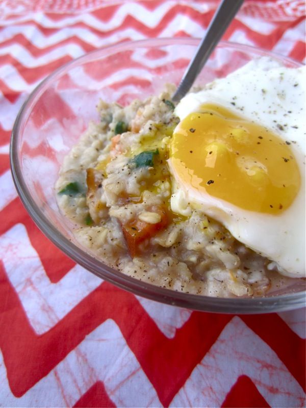 Savory Oatmeal with Sweet Potatoes, Rosemary, Spinach, and a Fried Egg