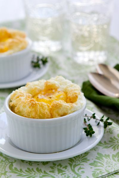 Buchanan and her darling eggs in nests - think souffle/baked eggs ...