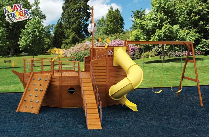 Pirate ship landscaping pinterest - Pirate ship wooden playground ...
