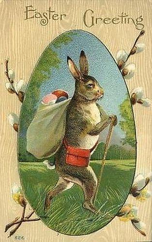 Cute~Standing Easter Rabbit & Sack of Eggs Vintage Antique Easter Postcard-V7