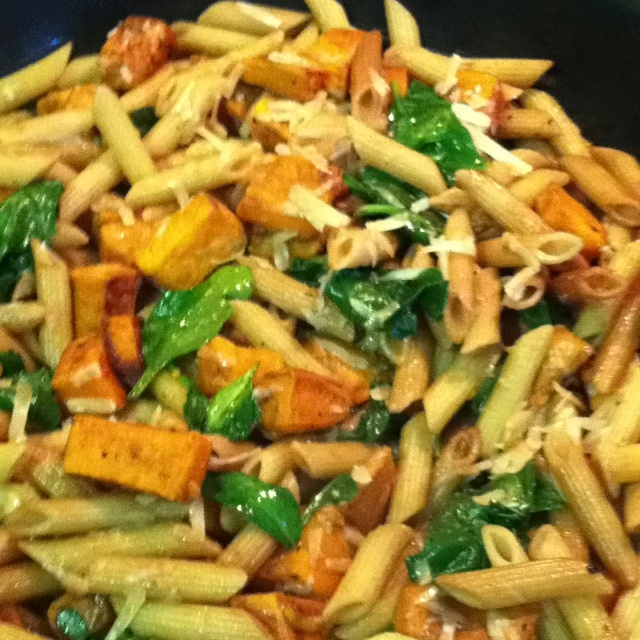 penne pasta with balsamic sweet potatoes, spinach and Parmesan.