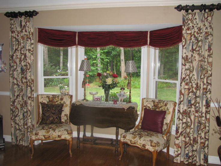 Dining room bay window treatment ideas for Bay kitchen window treatment ideas
