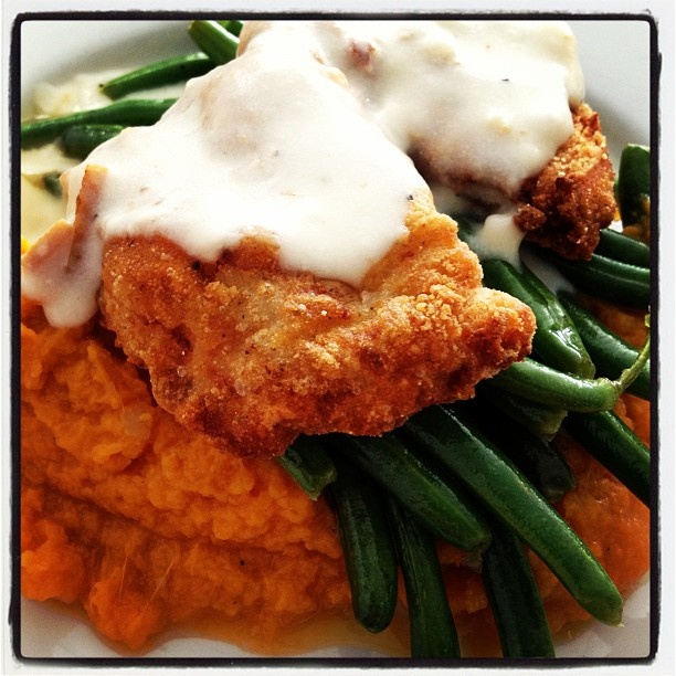 Fried chicken with sweet potato mash and green beans via @amnichols ...