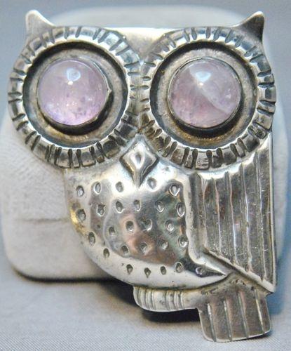Vintage William Spratling Mexican silver owl brooch with huge cabochon amethyst eyeballs