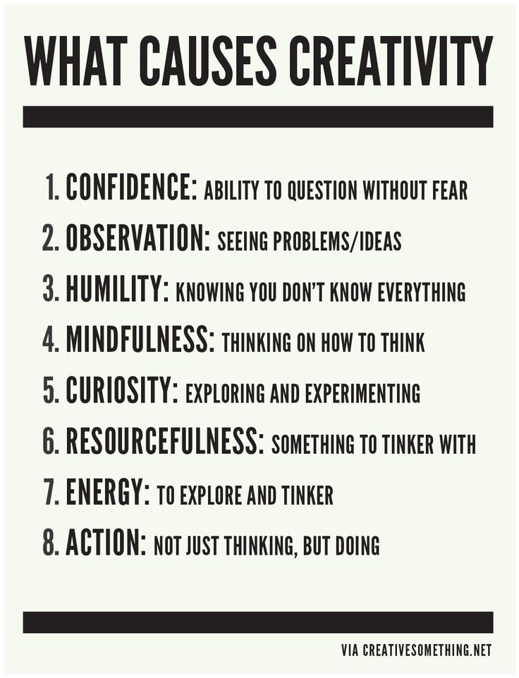 karenhurley:   Creativity requires a delicate balance of primarily these eight things. If you're not...