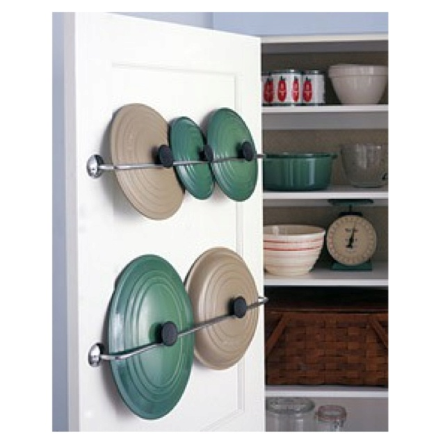 Towel racks as pot lid holders...clever | DIY for the home ...