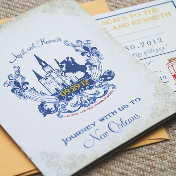 Old World Travel Booklet Wedding Invitation New Orleans