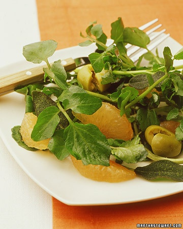Watercress Salad with Grapefruit, Olives, and Fried Sage | Recipe