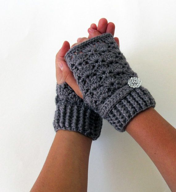 Crocheting Gloves Fingerless : Gray Crochet Fingerless Gloves, Eco Friendly Yarn. $19.99, via Etsy.