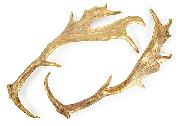 Pair of 9 deer antler decor gold for Antlers decoration