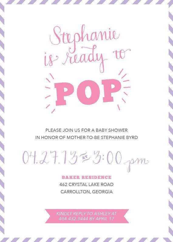 digital ready to pop baby shower invitation by shoppolkaanddot