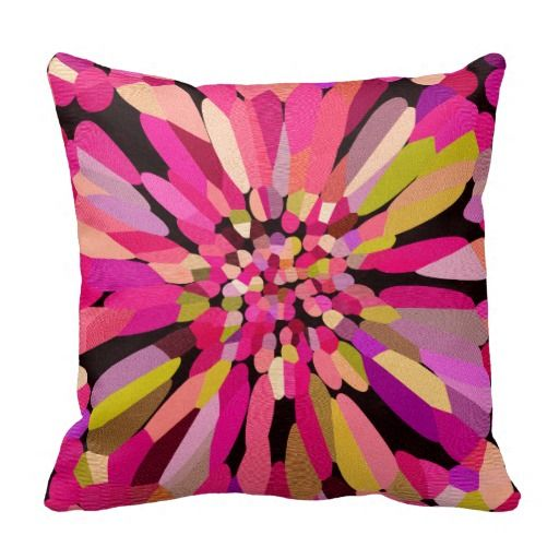 Pink Confetti Flower Throw Pillows