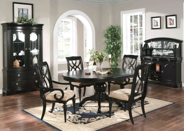 Formal Dining Room 6 Piece Set Oval Table Chairs Black