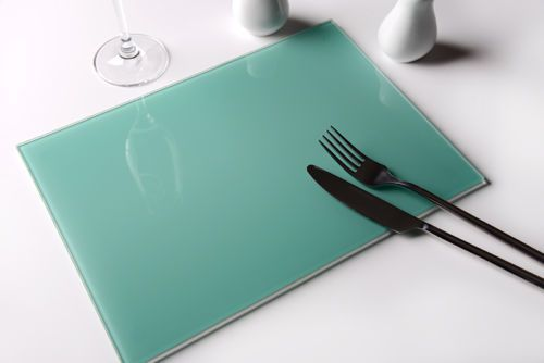 Set of 4 aqua toughened glass placemats table mats by for Glass table placemats