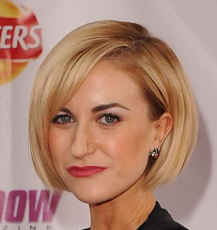 Katherine wore a chin length streamlined bob with side swept bangs