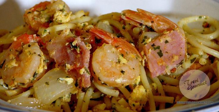 Spaghetti With Shrimp, Bacon And Eggs | Food - Main Dish | Pinterest