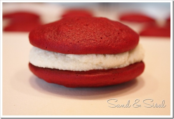 red velvet whoopie pies -- these came out pretty good, even without ...