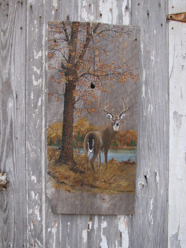 Vintage painted barn wood buck deer in woodland scene wall for Mural on wood