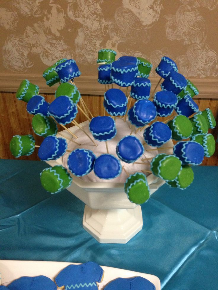 marshmallow pops baby shower pops royal blue green and turquoise