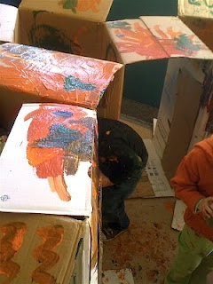 painting cardboard boxes