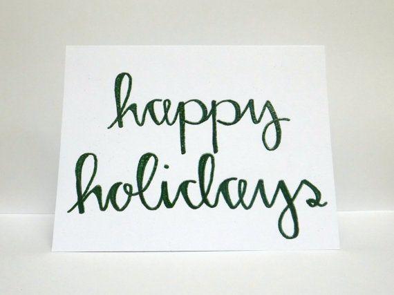 Happy holidays modern calligraphy heat embossed