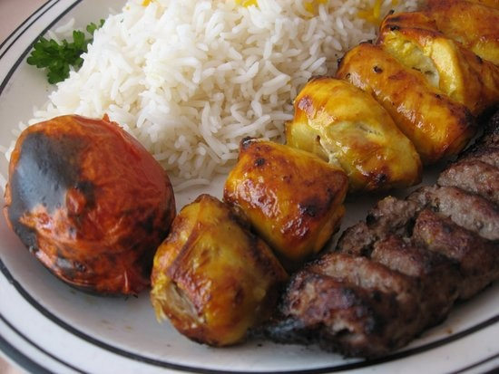 grilled joojeh (chicken marinated in minced onion, saffron, and lemon ...
