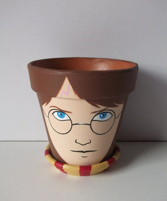 Harry Potter Painted Flower Pot Gift Set by GingerPots on Etsy, $20.00
