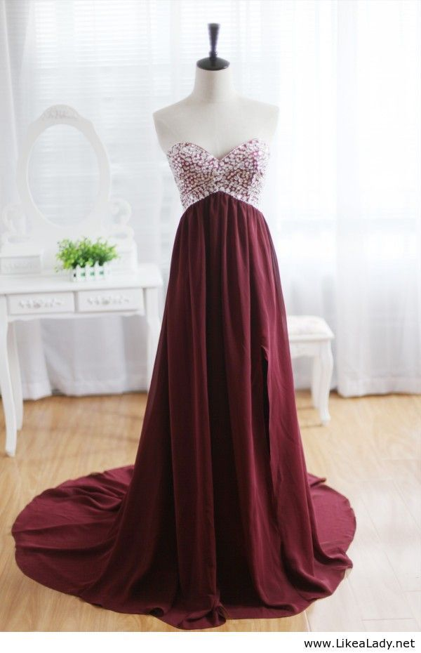 Pretty maroon gown clothes pinterest