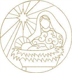 Nativité de Marie et Jésus motif de broderie