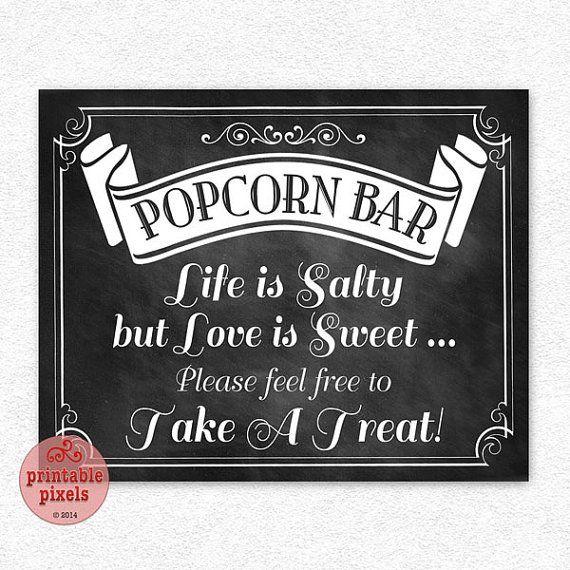 Popcorn Bar 8x10 Chalkboard Printable Wedding Sign Instant Download