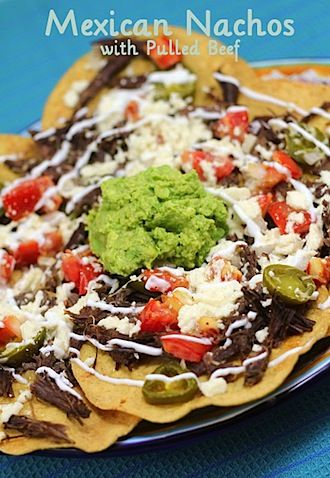 Mexican Nachos w/ Pulled Beef, looks identical to what we had in Cabo ...