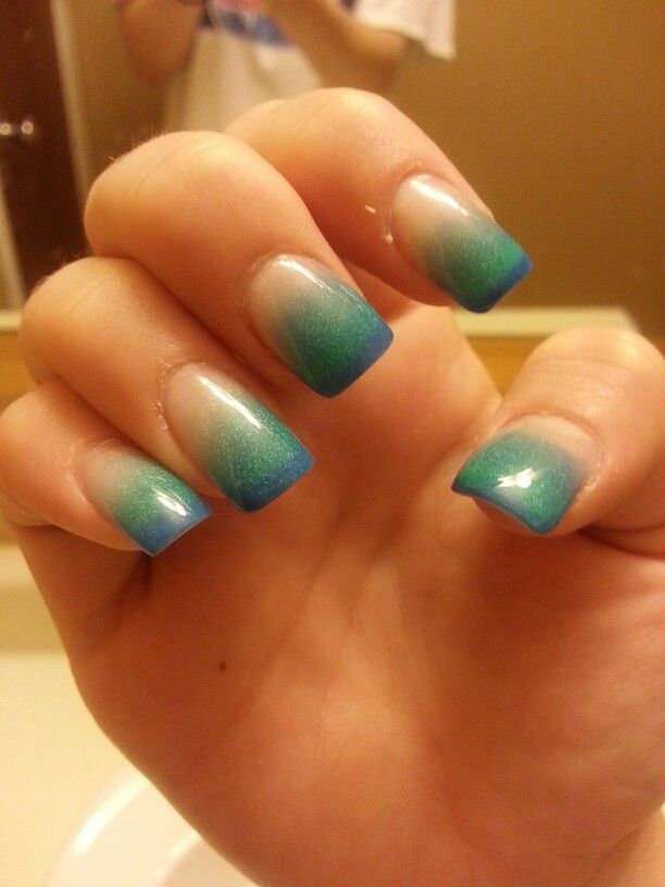 Blue/teal powder gel nails (: LOVE | Beautiful Nail art | Pinterest