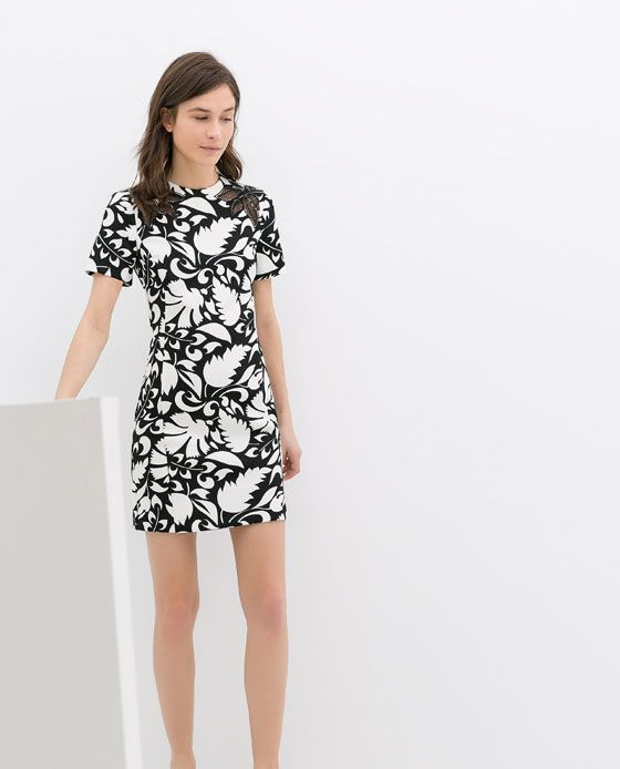 Awesome Zara Floral Print Dress In Black  Lyst