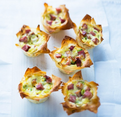 Leek and ham phyllo tarts | Appetizers | Pinterest