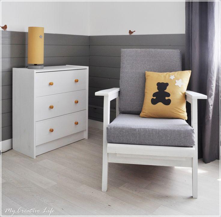 Couleur Peinture Orange : Chambre bébé, gris, jaune et blanc  Bébé  Pinterest