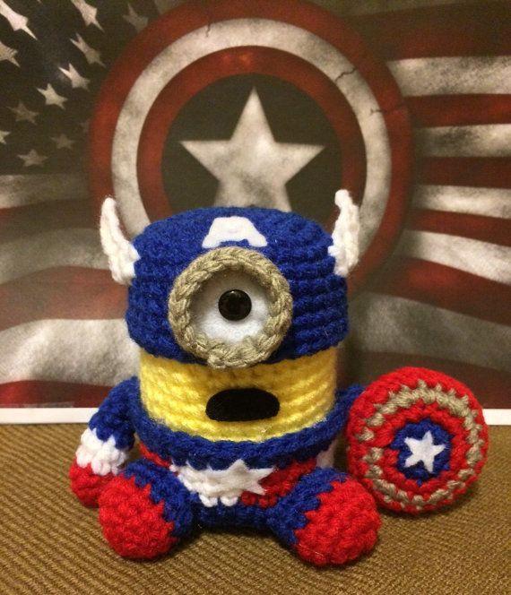 Minion Captain America Amigurumi : Captain America Minion Crochet Amigurumi Woolly Patch ...