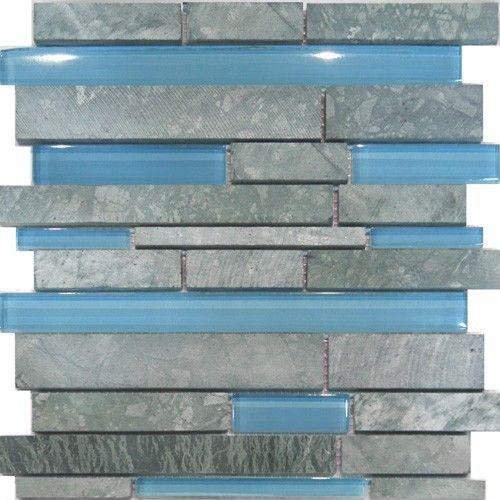 Marble Stone Blue Glass Random Linear Mosaic Tile Backsplash Kitchen